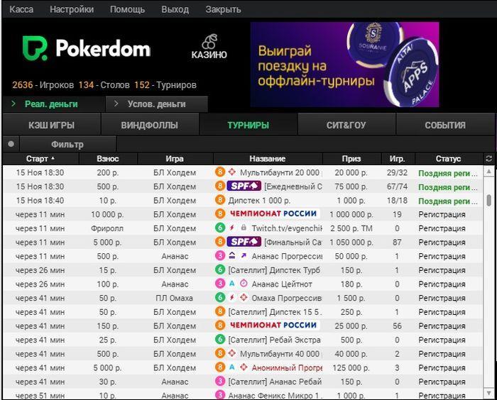 Трафик турниров на Покердом
