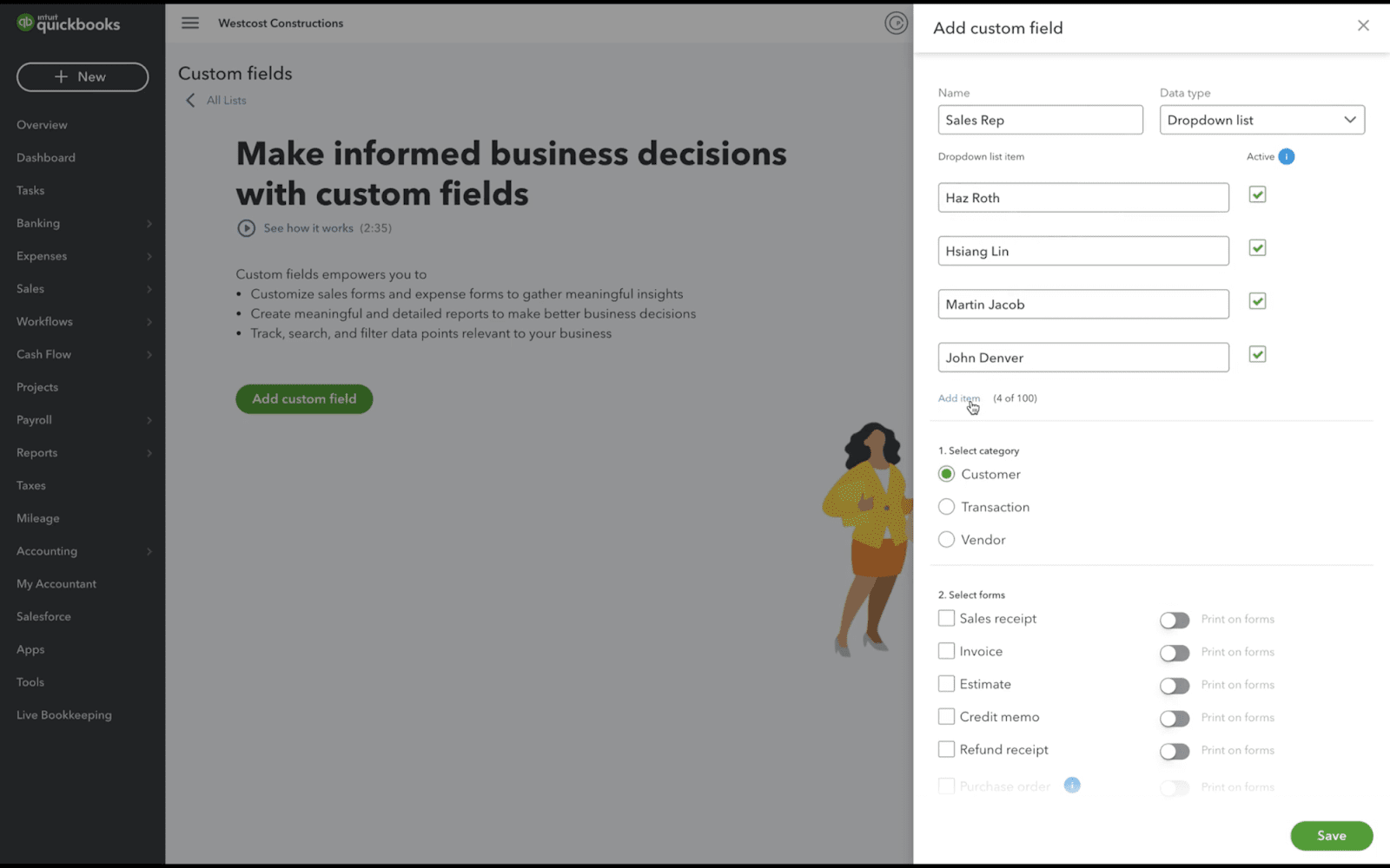 How to Create and Edit Custom Fields in QuickBooks Online Advanced 1