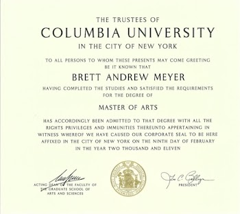 Master of Arts degree diploma