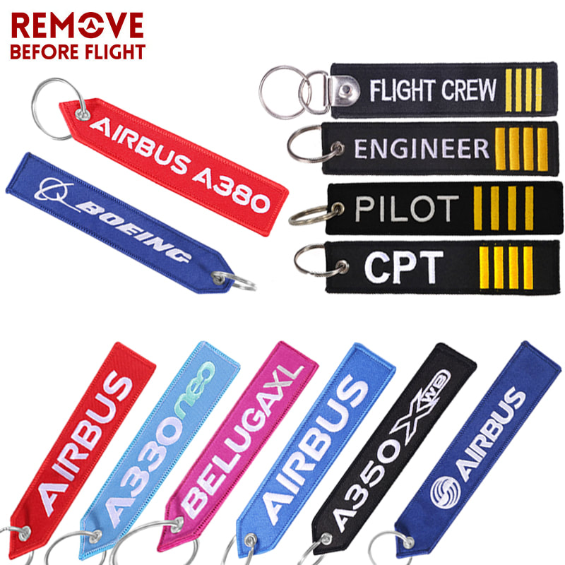 1pc Motorcycle Car Bike Pilot Embroidery Keychain Embroidered Key Metal Ring Tag