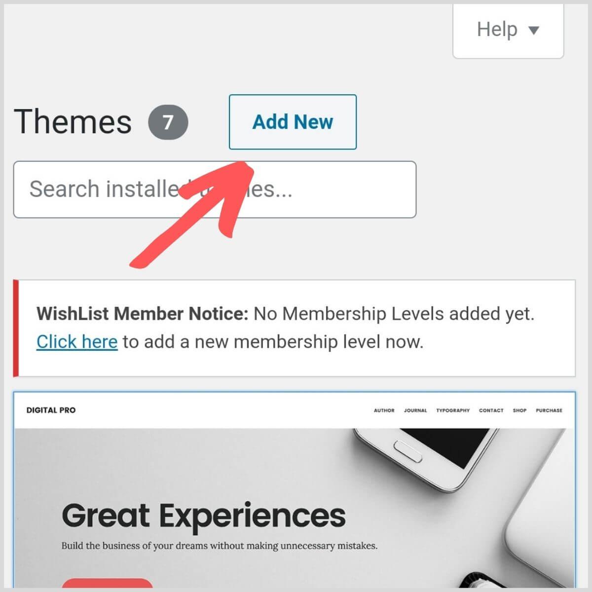 Wordpress upload theme view