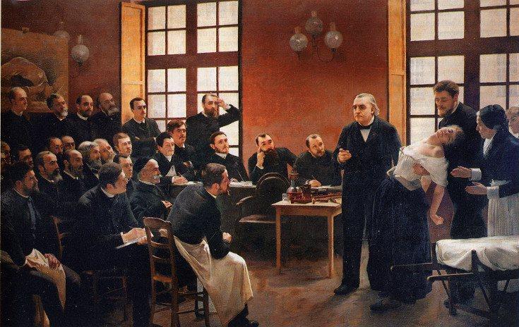 Este cuadro de Brouillet representa una clase sobre histeria en el hospital clínico Salpêtrière en 1887