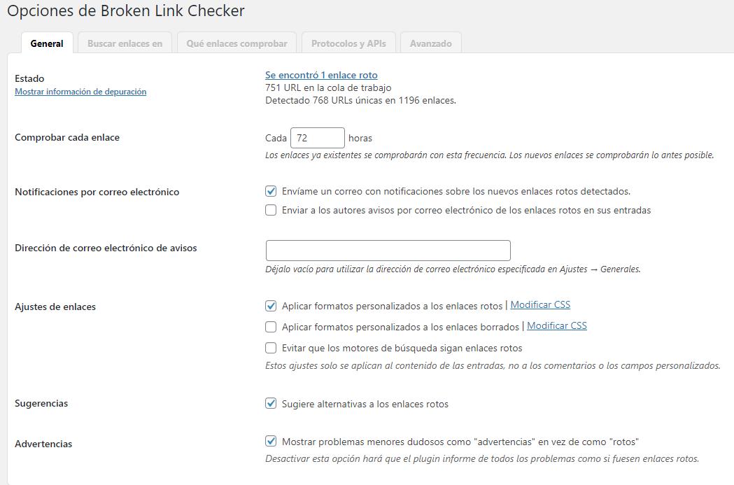 Plugin Broken Link checker SEO EordPress