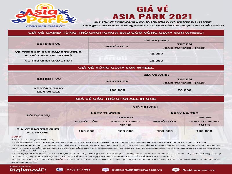Bảng giá vé Asia Park 2021 mới nhất