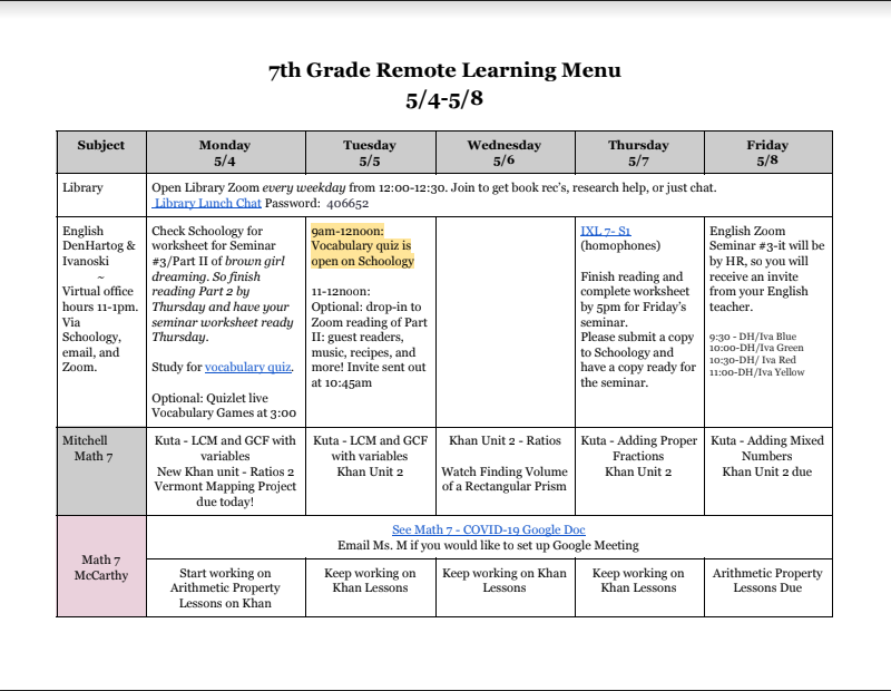 Sample of 7th grade remote learning menu