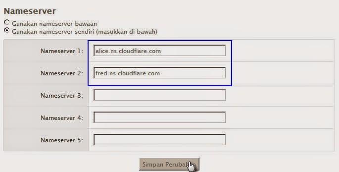 Cara pointing Custom Domain Ganti blogspot.com ke layanan cloudflare dan masterweb.com