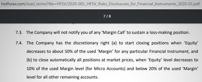 HotForex Provides no notification of margin call