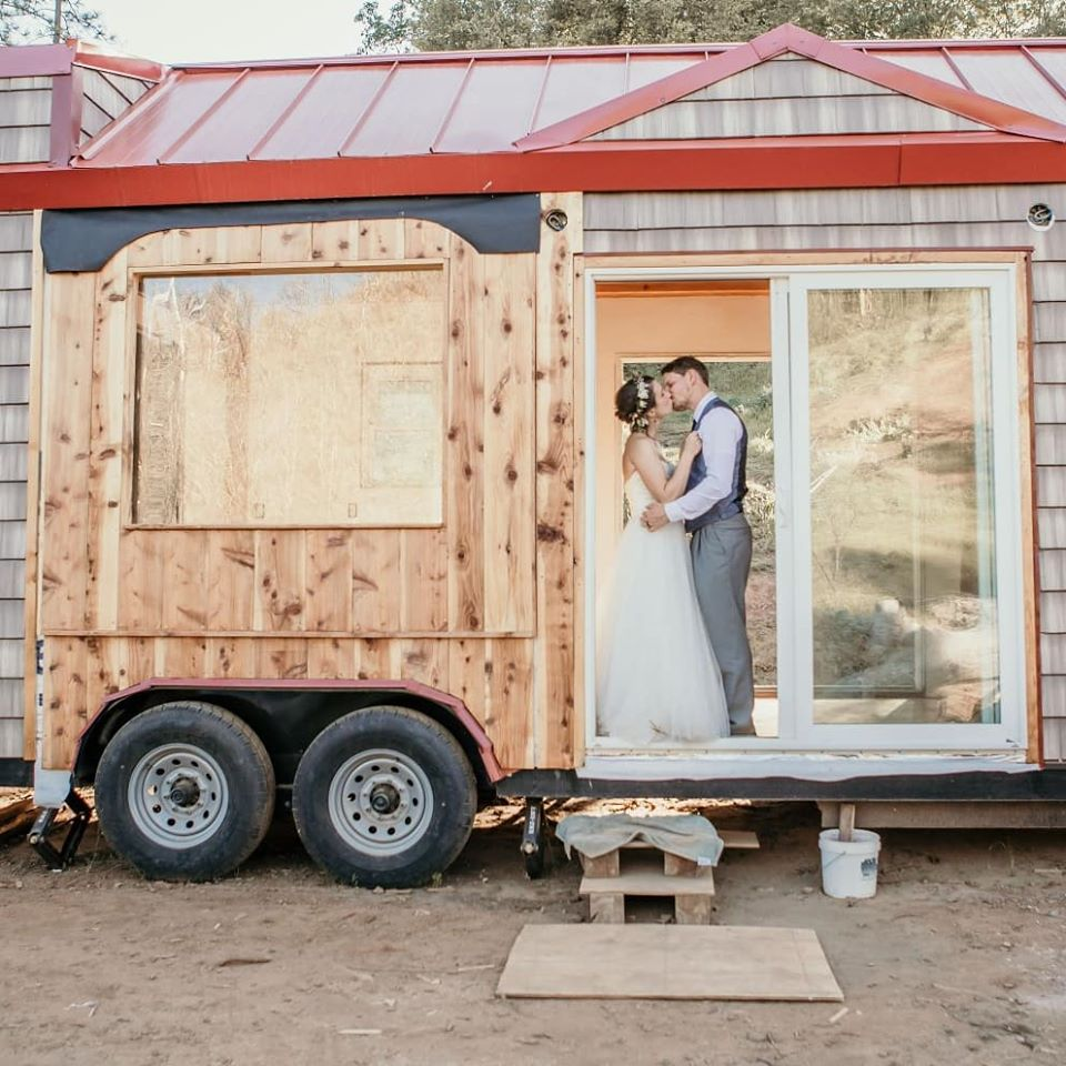 Timber Frame Tiny House on Wheels, Edwin and Clara Celebrating Their Wedding at Their Tiny House