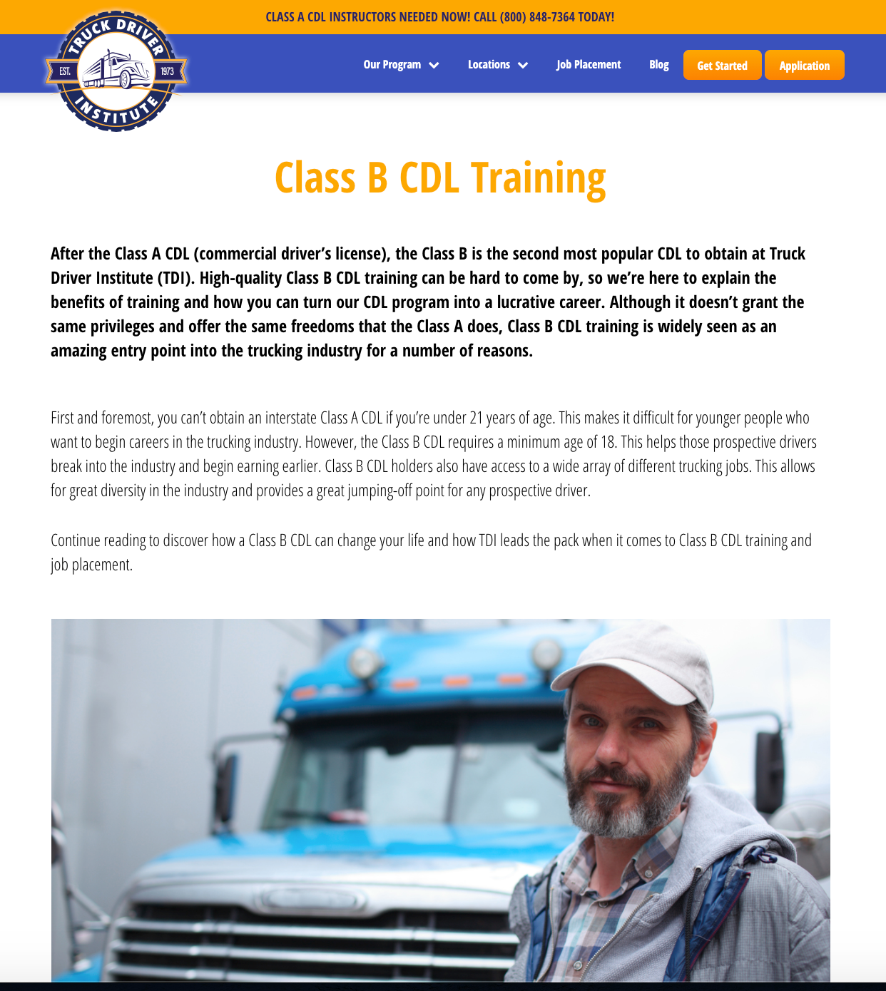 Truck Driver Institute service page example