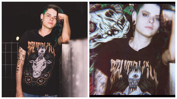 Montagem de uma mulher com estilo EMO posando para a câmera mostrando o antes e depois da edição.