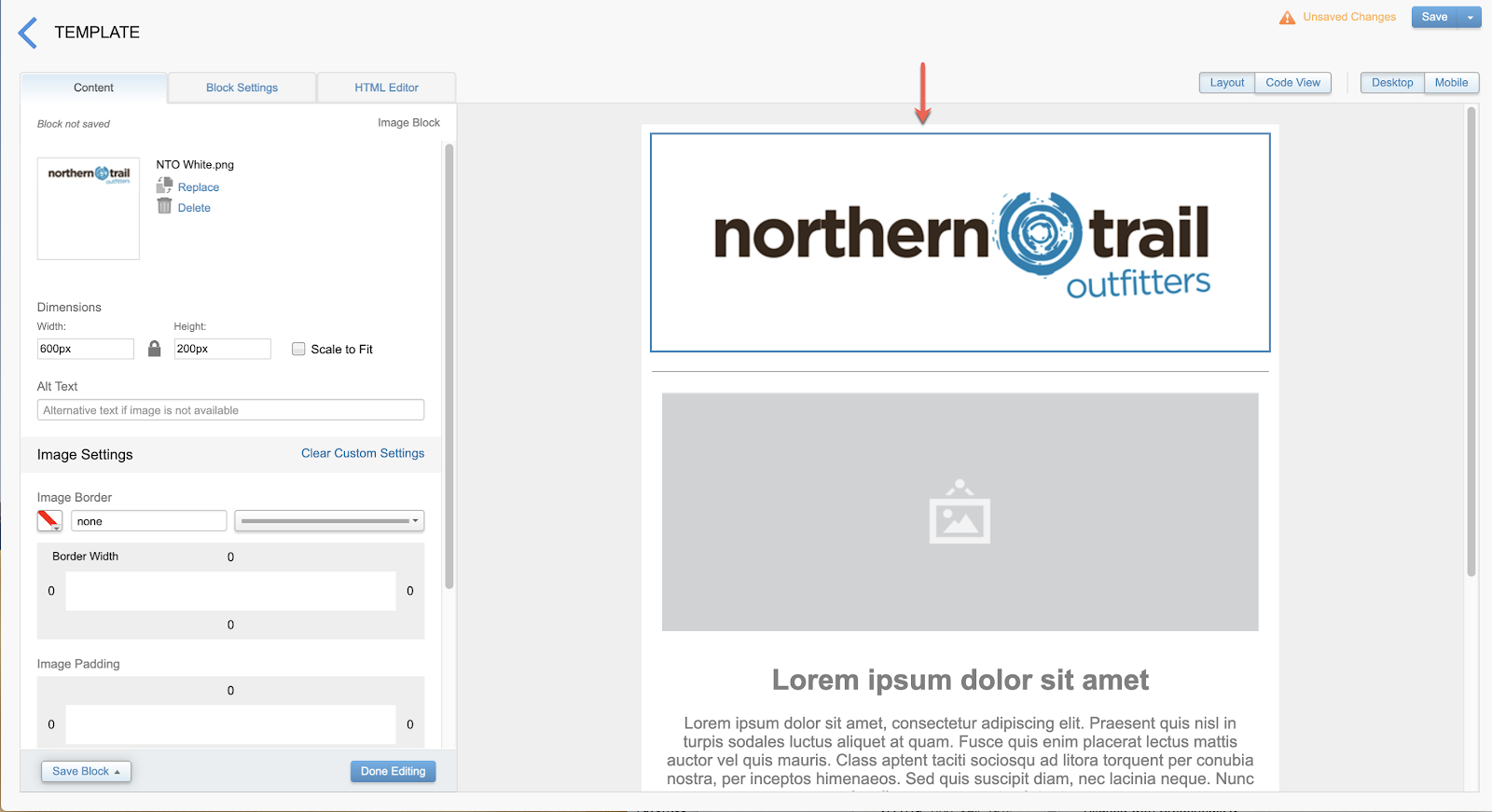 A screenshot showing the email template layout after the Northern Trail Outfitters logo was added to the top content block.