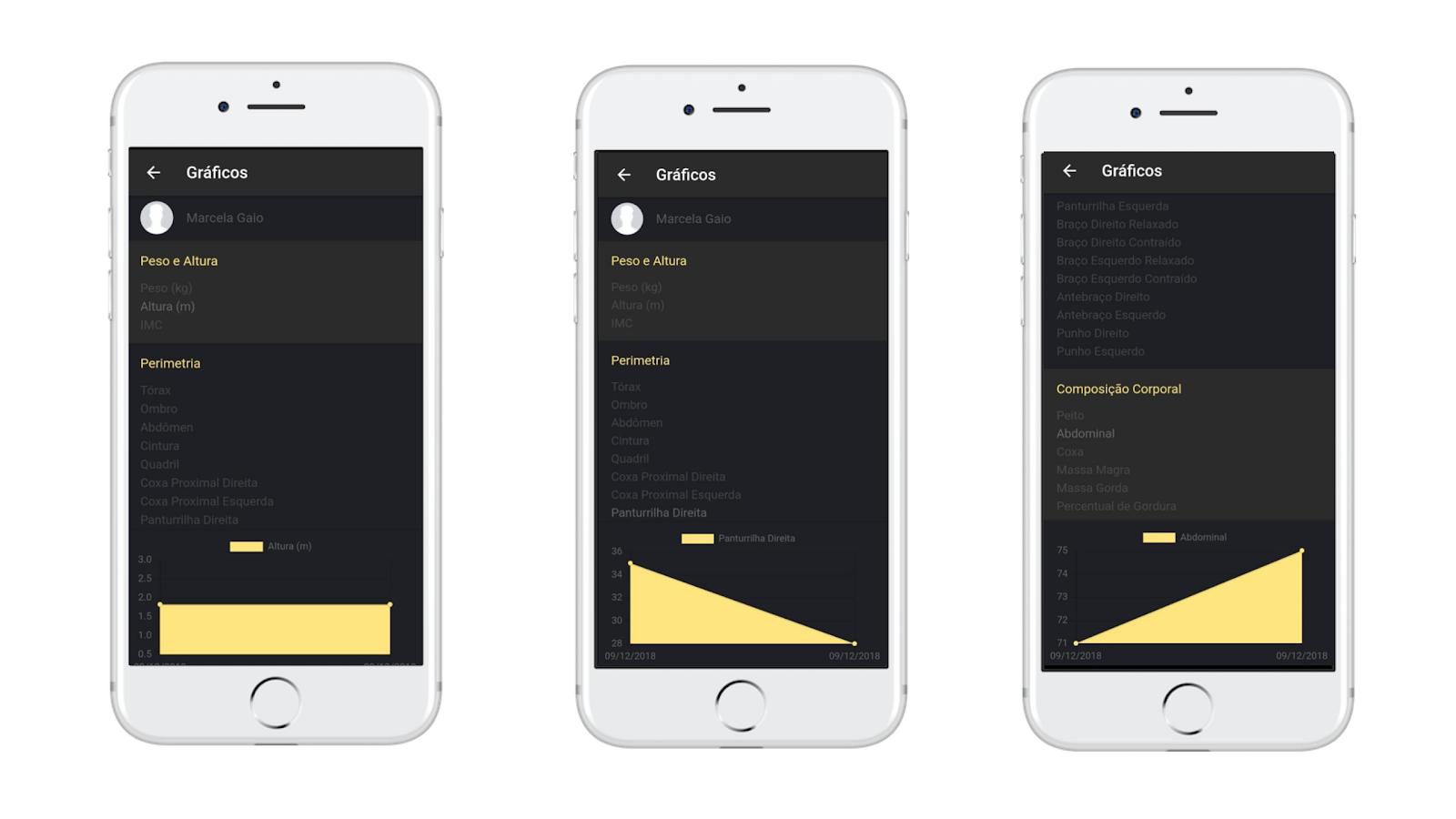 Gráficos de Desempenho de alunos do aplicativo Nexur