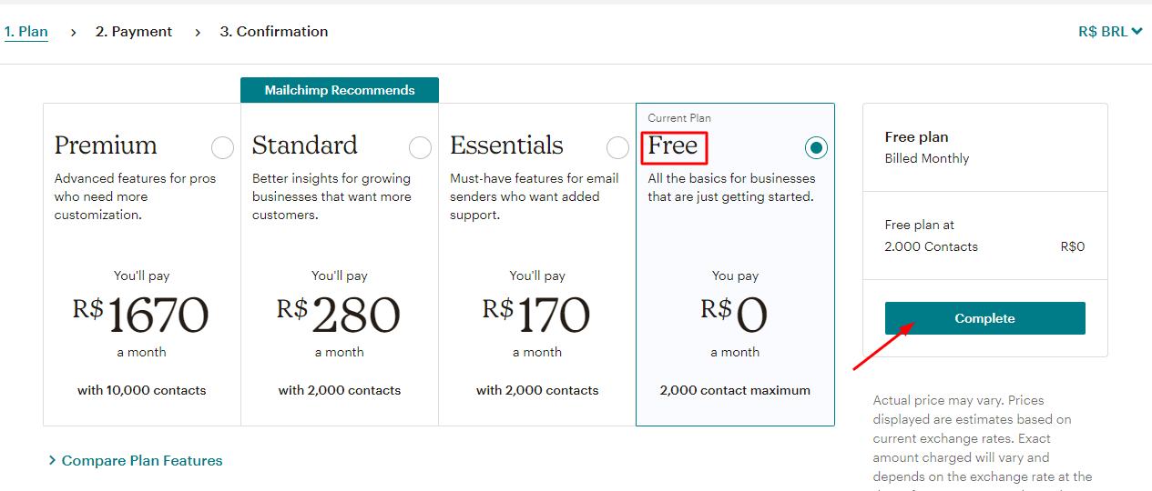selecionar plano gratuito no mailchimp