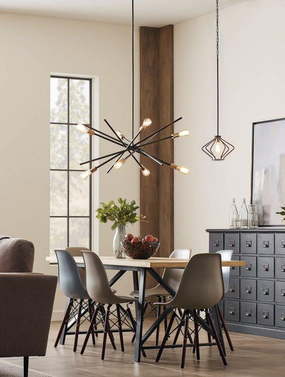 Mix and match with the Astra chandelier and the Hangar pendant. An iconic fixture, Astra features an organic, asymmetrical design. Ideal for dining room settings, these space-aged inspired pieces are so versatile they can be incorporated into a variety of interiors. Fixtures in the Hangar collection are fun, light and airy pieces – perfect for both casual and modern homes. #modern #urbanindustrial #lighting