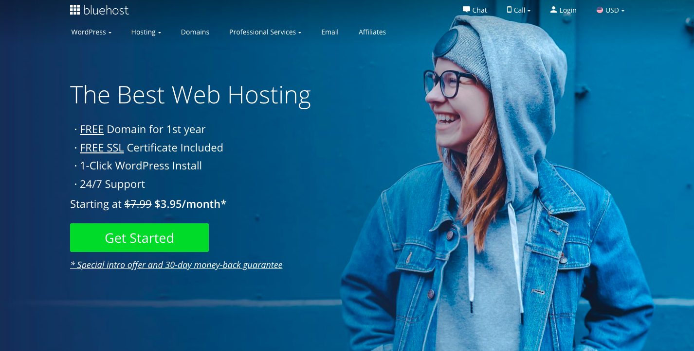 Home page of bluehost