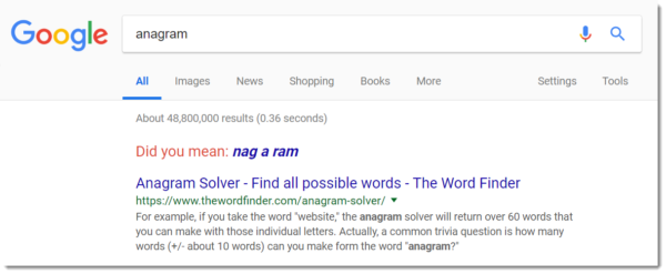 Google Easter egg: anagram