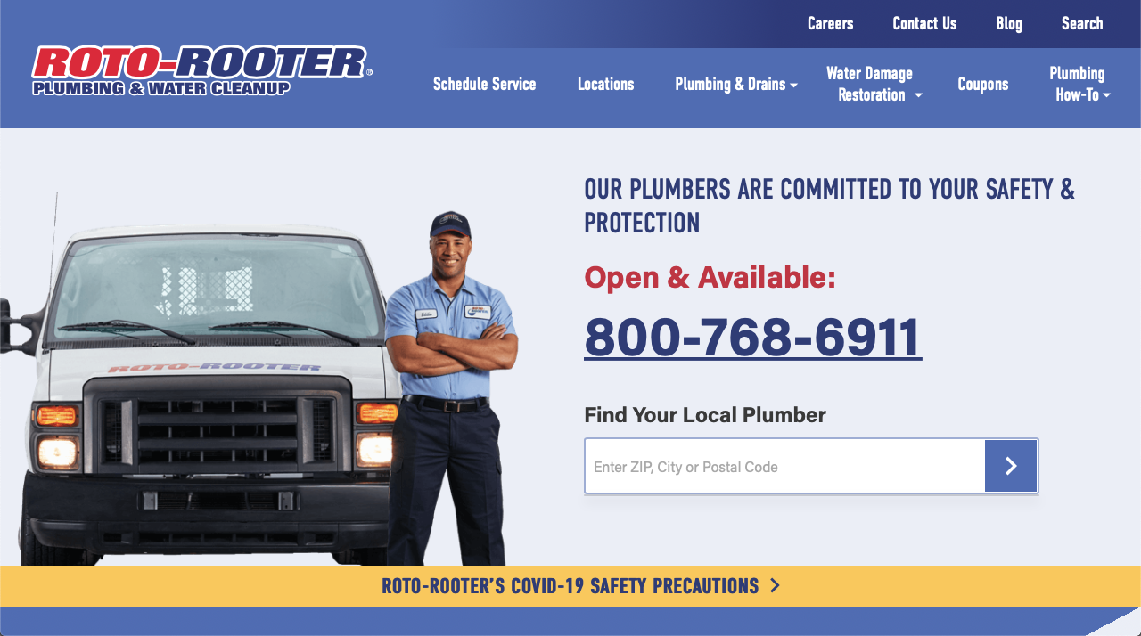 Roto-Rooter restoration franchise website homepage