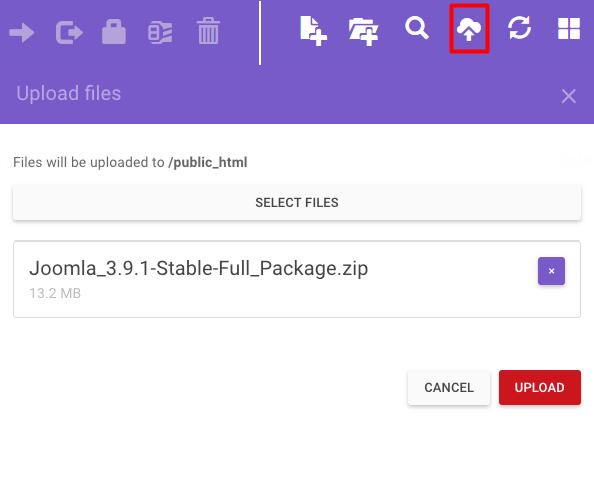 Загрузите заархивированную установку Joomla в каталог public_html