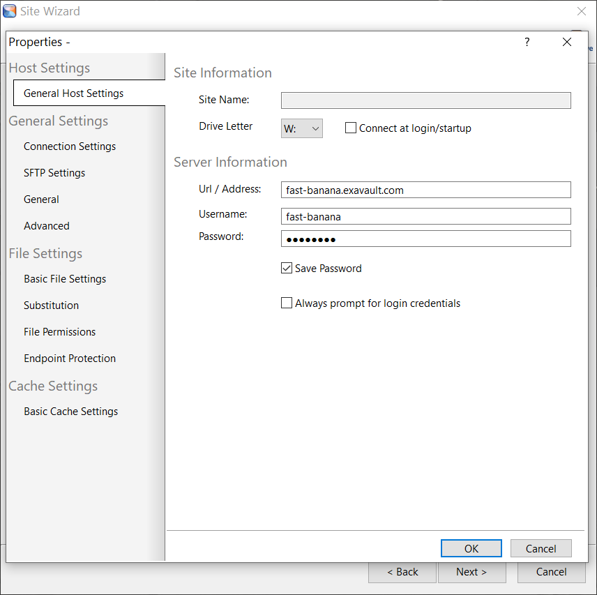 Enter general host settings for sftp connection