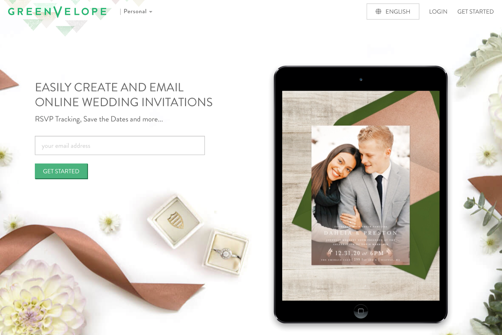 Photo of GreenVelope easily created and emailed online wedding invitations