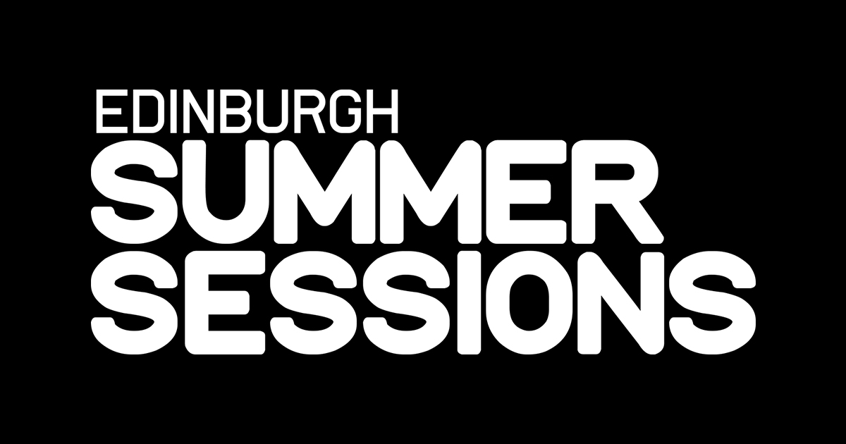 white text reads edinburgh summer sessions on black background