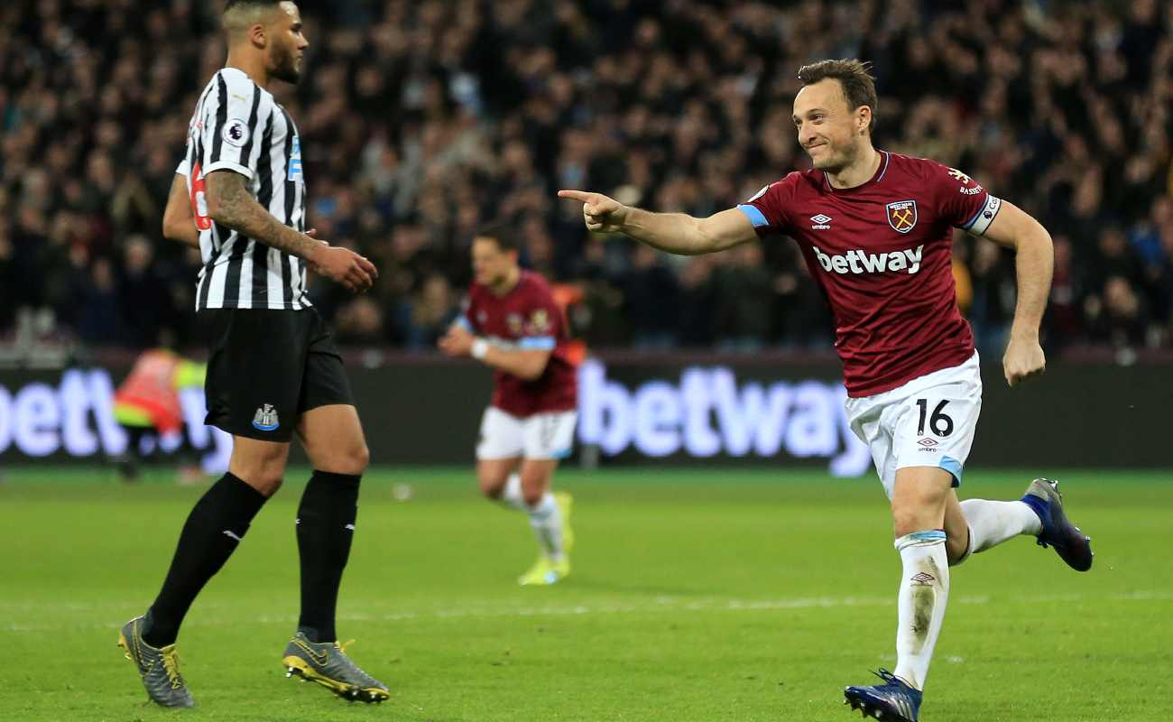 West Ham captain Mark Noble celebrates a goal.