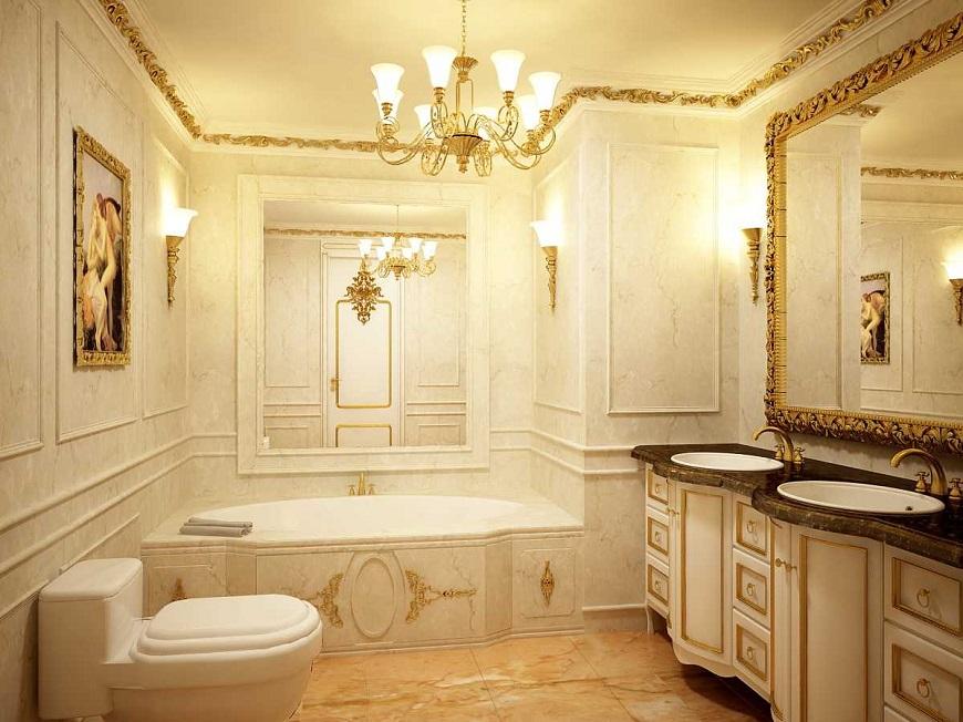 Nhà tắm với đường nét trang trí sang trọng