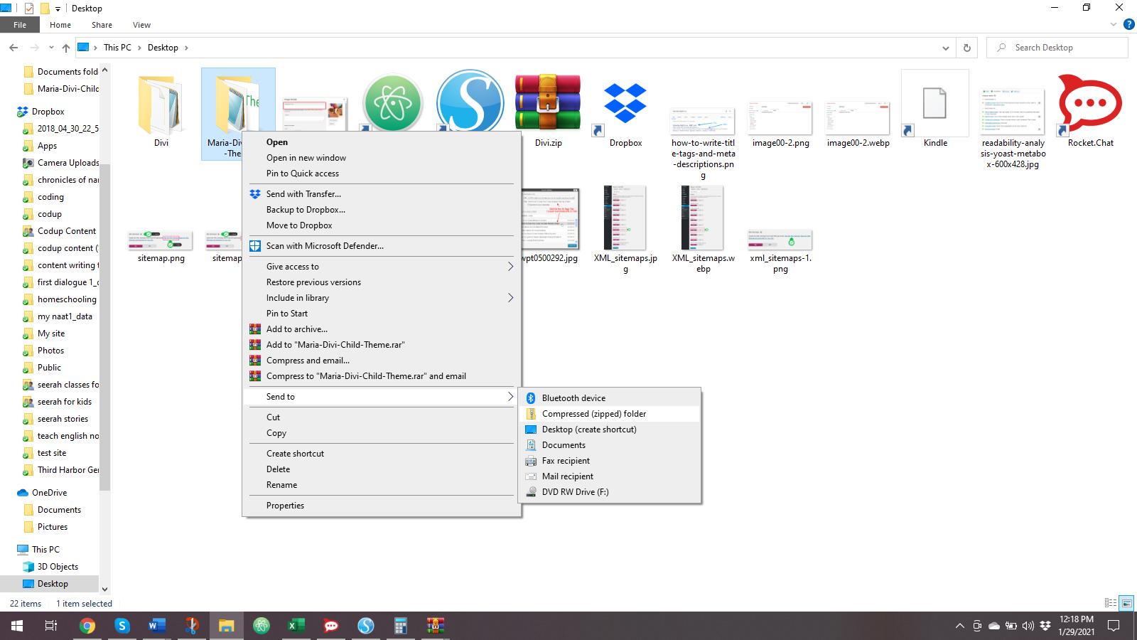 Compress the folder and upload