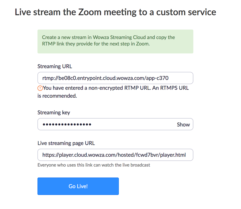 Live Stream the Zoom Meeting to a Custom Service