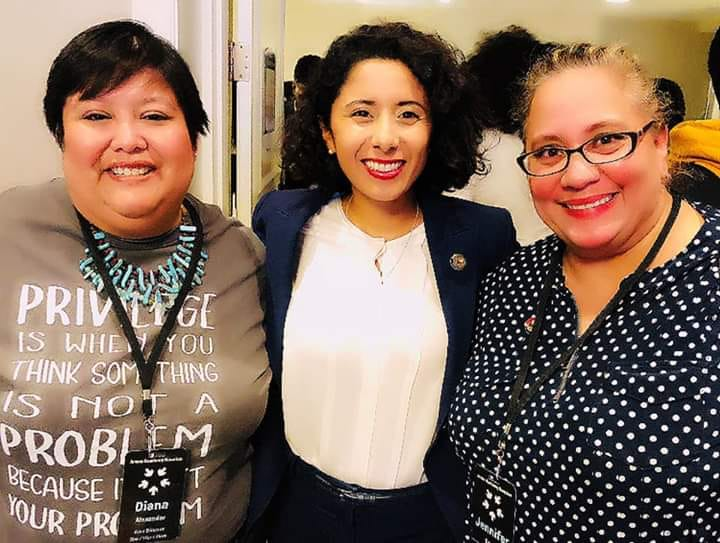 Photo of Diana Alexander with Harris County Judge Lina Hidalgo and another activist.