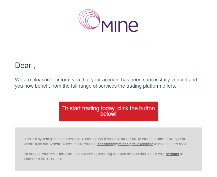 Screenshot of the welcome email from Mine Digital to indicate the completion of the Easy Crypto Mine Digital Exchange Guide.