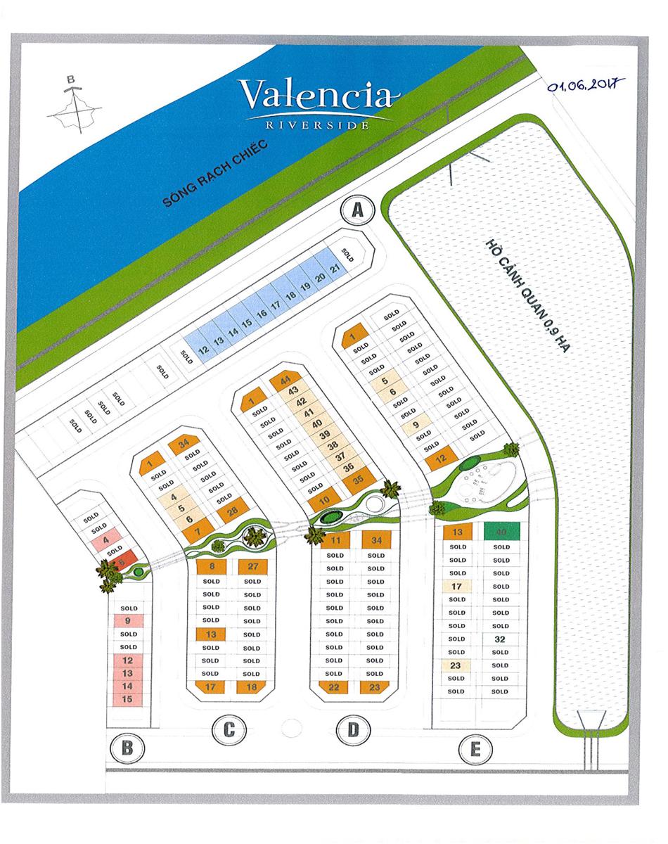 mặt bằng 39 căn nhà phố valencia riverside