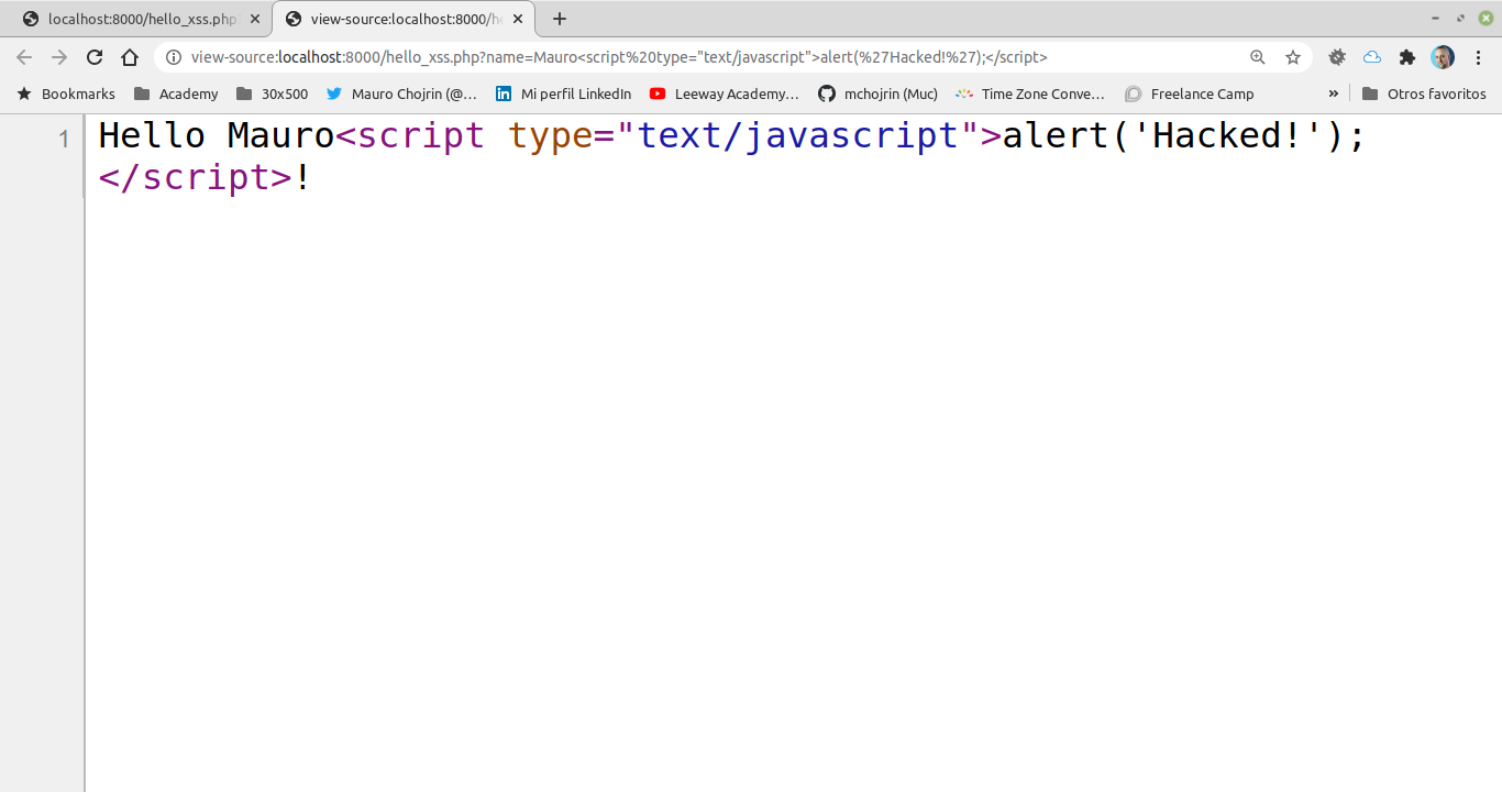 """The text """"Hello Mauro"""" followed by the javascript code to show the message """"Hacked!"""""""