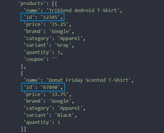 Фрагмент кода с данными транзакции