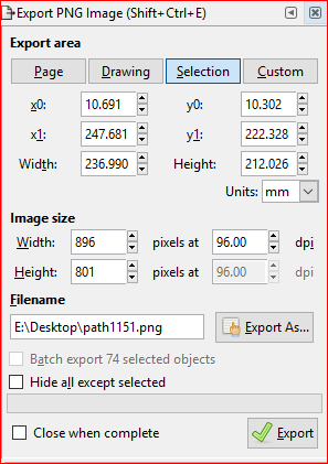 A screenshot of inkscape export window.