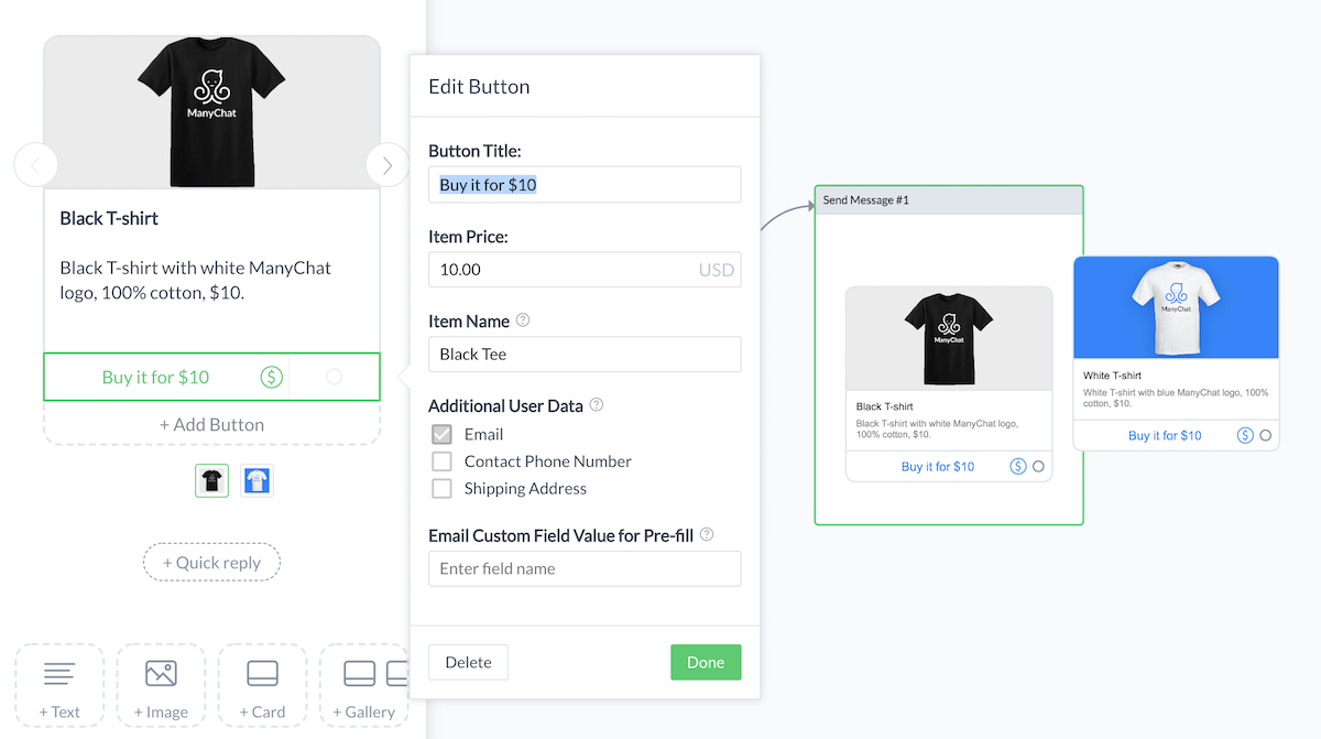 Screenshot of setting up the payment button in a Messenger flow