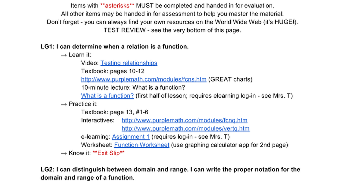 MCF3M Unit 1 Introduction to Quadratic Functions Google Docs – Domain and Range of a Function Worksheet