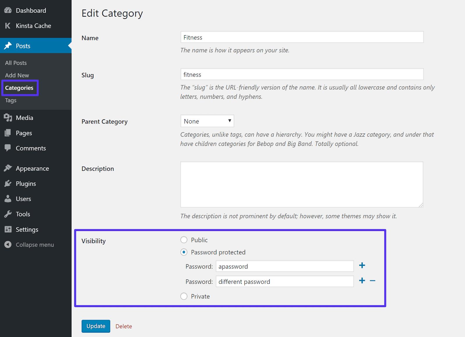 Cách thêm mật khẩu vào danh mục