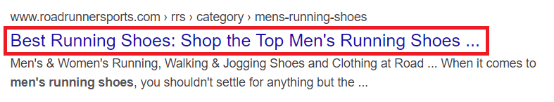 "Meta title for ""men's running shoes"" keyword Google search. The meta title includes the keyword."