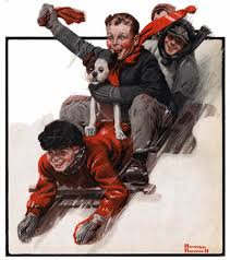 Four Boys on a Sled Norman Rockwell