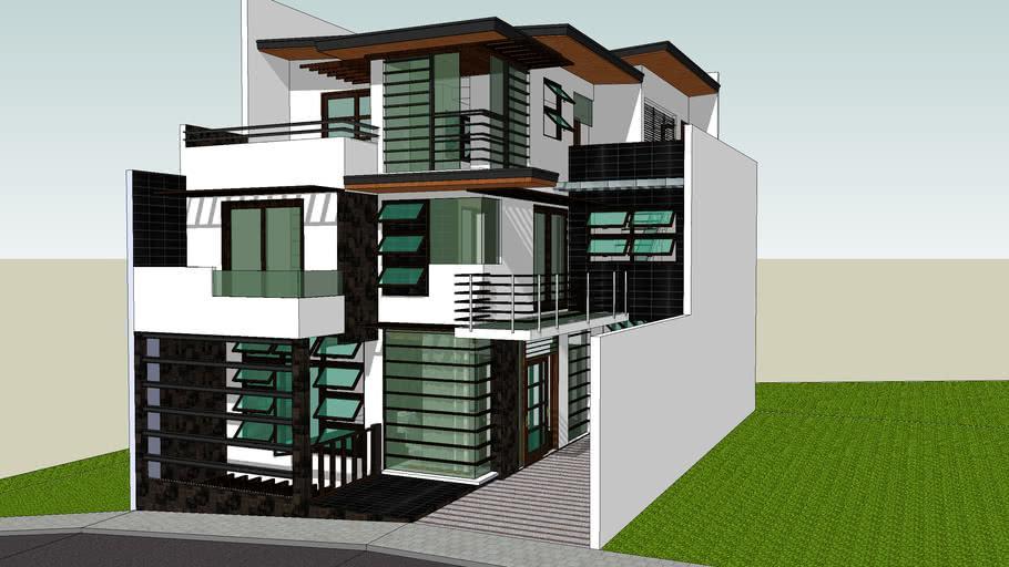 Nhà ống 3 tầng thiết kế xếp lớp với sân nhỏ