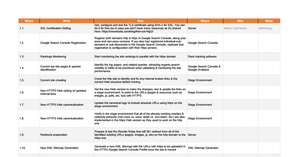 http to https migration seo checklist by aleyda google sheets