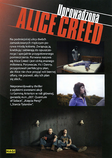 Tył ulotki filmu 'Uprowadzona Alice Creed'