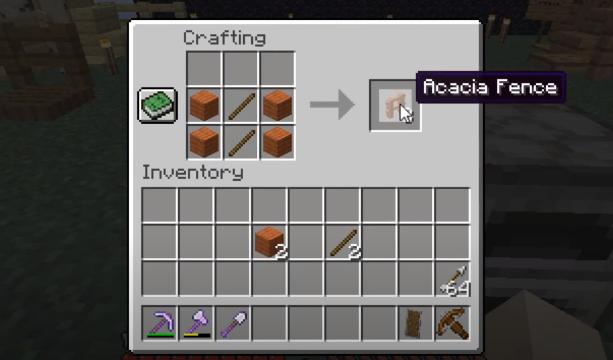 How To Make Acacia Fence Minecraft Recipe