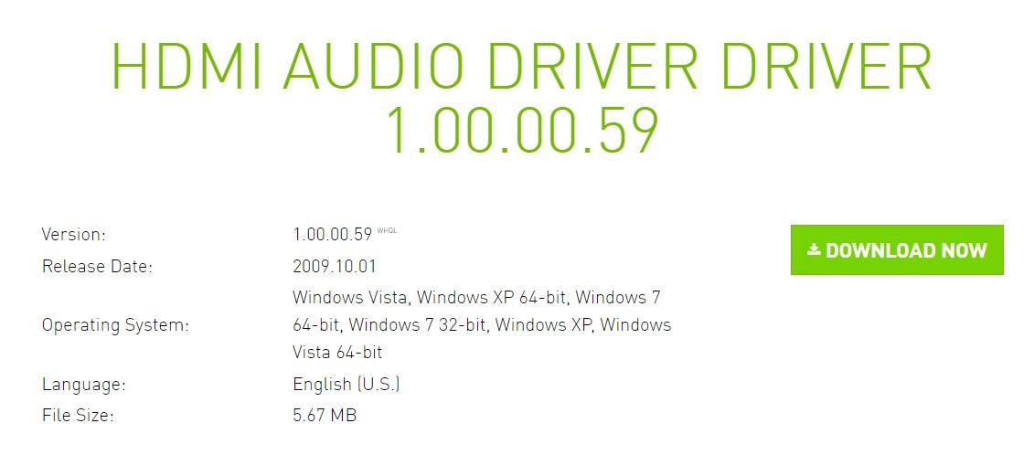 The Nvidia HDMI audio driver download web page