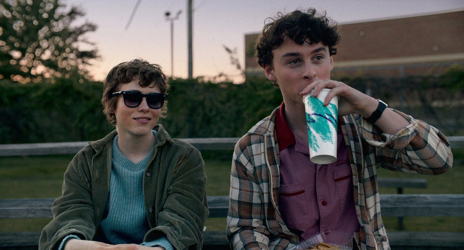 I Am Not Okay With This. Syd (Sophia Lillis) and her neighbour Stan (Wyatt Oleff) sit beside each other on a bench under an evening sky. Syd has sunglasses on and smirks off into the distance, and Stan gazes in the same direction as he sips from a paper soda cup.