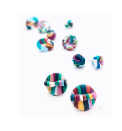 rainbow clay earrings