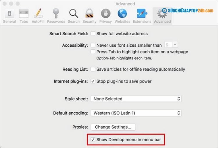 Thao tác với cửa sổ Tùy chọn của Safari