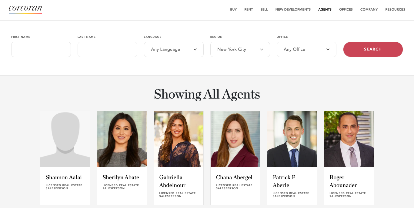 Corcoran landing page showing agent catalog for real estate agents in NYC.