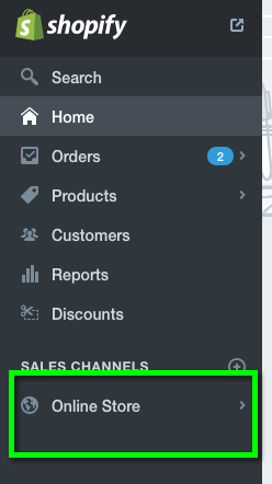 In your Shopify admin dashboard, click on Online Store